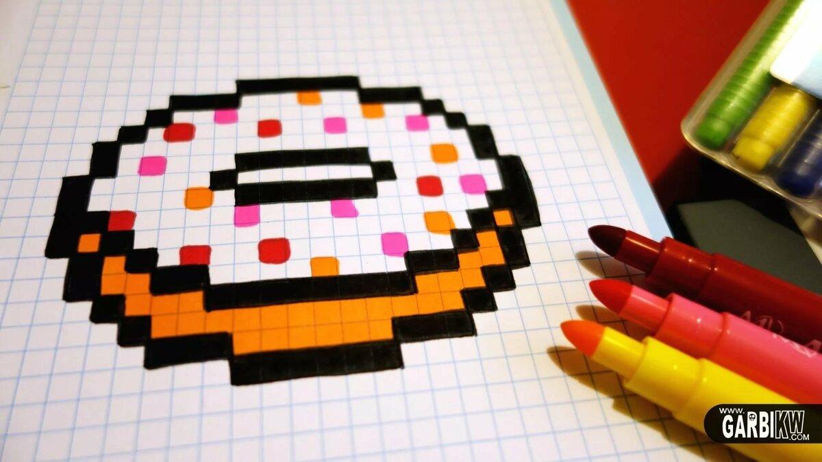 рисунки картинки по клеточкам пончик вот