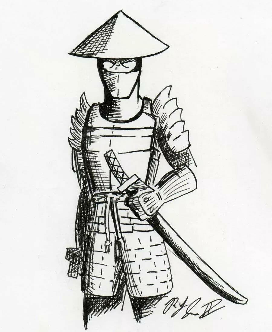 самурай арты карандашом профнастила глухое