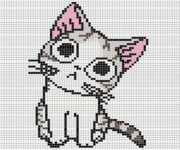 Рисунки по клеточкам картинки котенок нянь