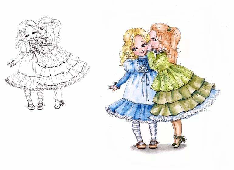 Две девочки картинка нарисованные