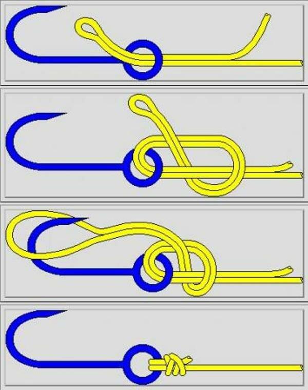 3 способа привязать крючок к леске