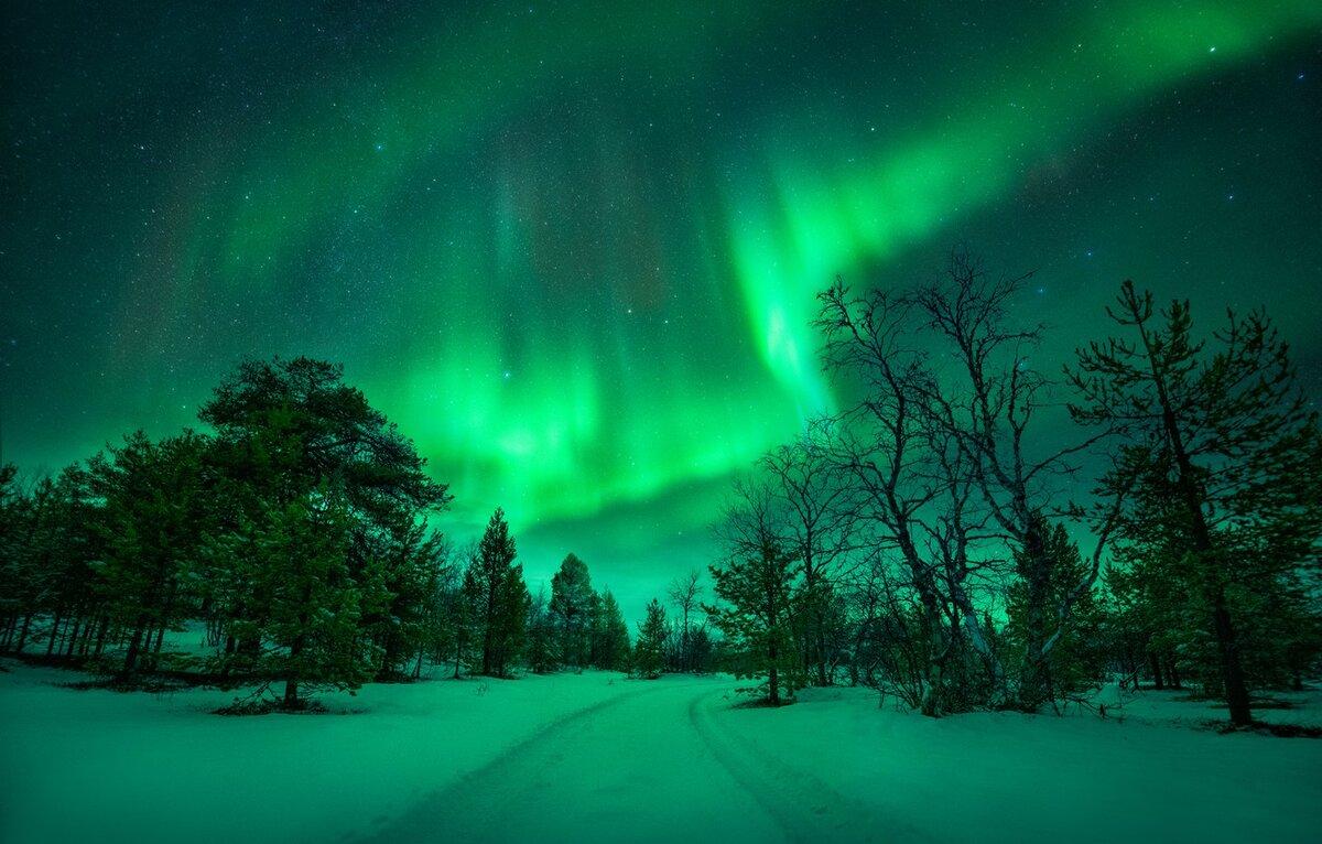 Картинки зима полярное сияние