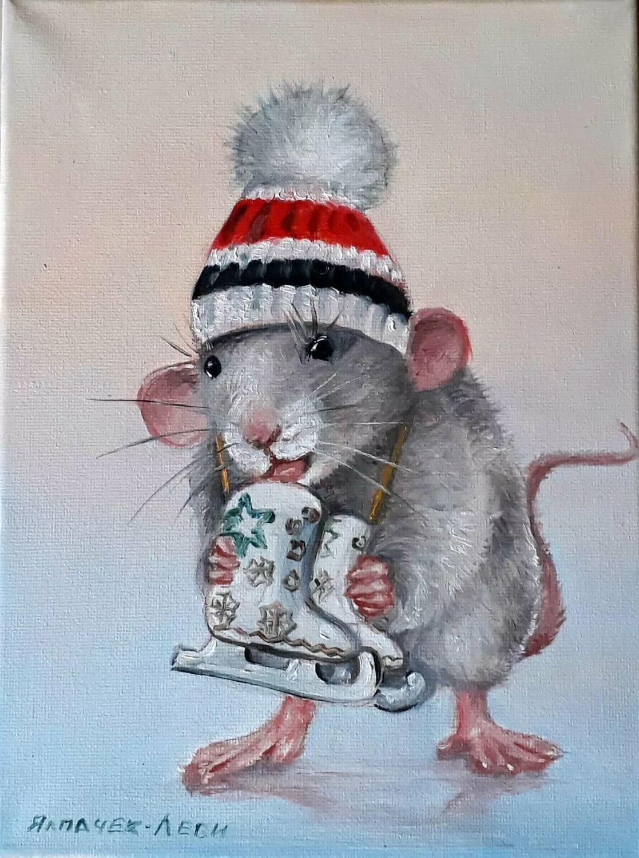 открытка белая крыса фото