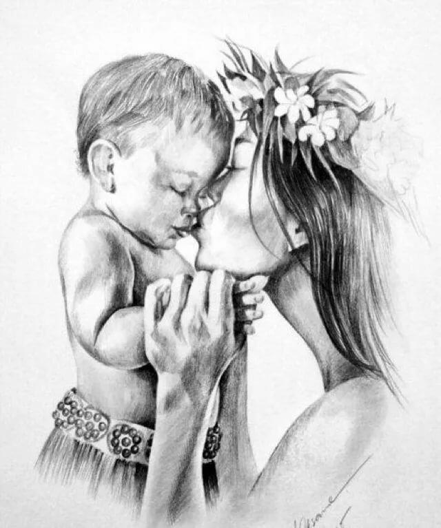Женщина с ребенком картинки карандашом, прощенным воскресеньем открытки