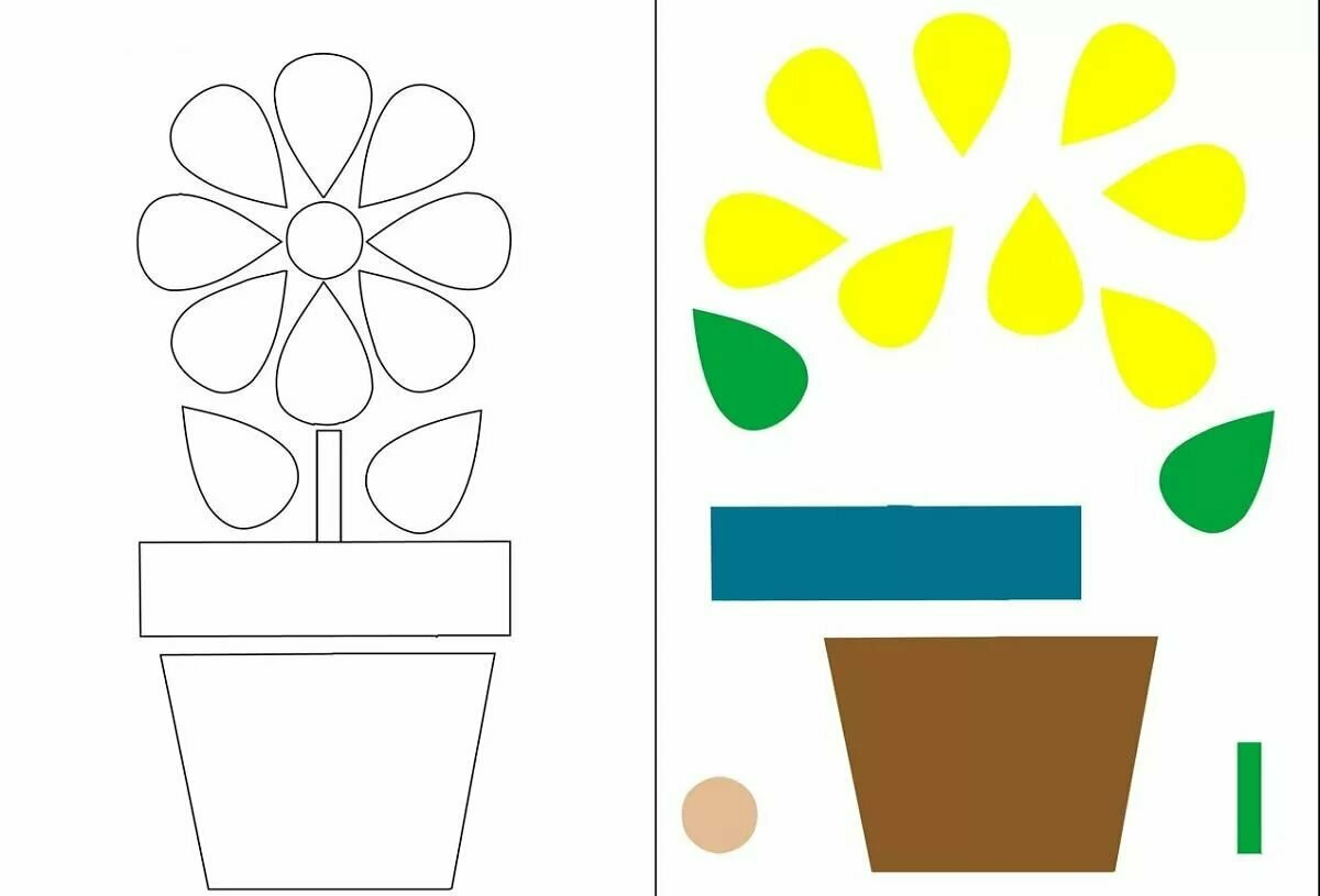 Аппликация из цветной бумаги шаблоны картинки для прошлый