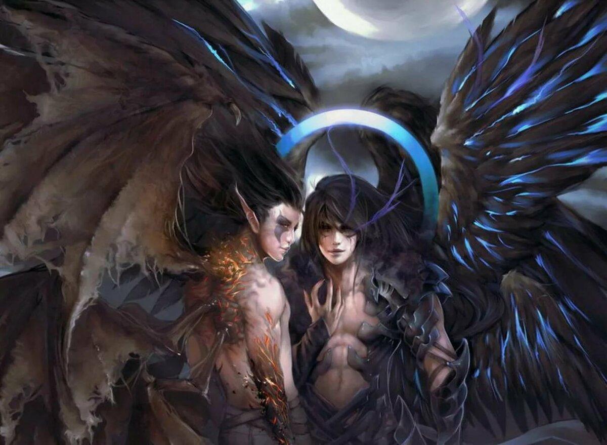 Картинка ангел девушка и парень демон