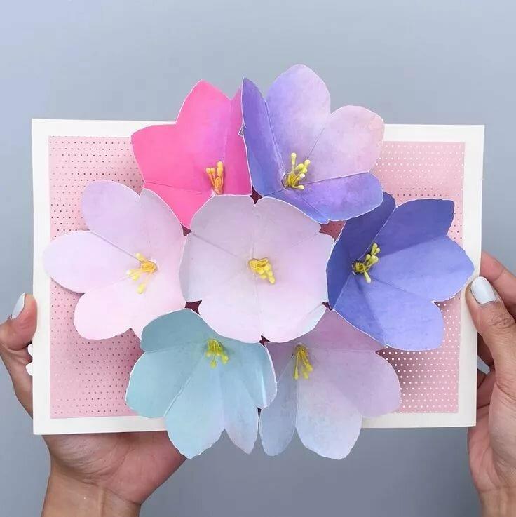 Сделать цветочки на открытку из бумаги, утро любимый