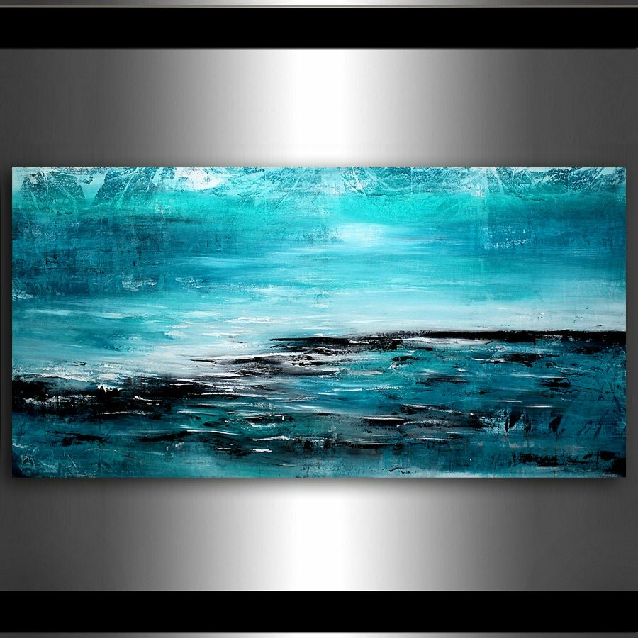 Картина океана с подсветкой и часами