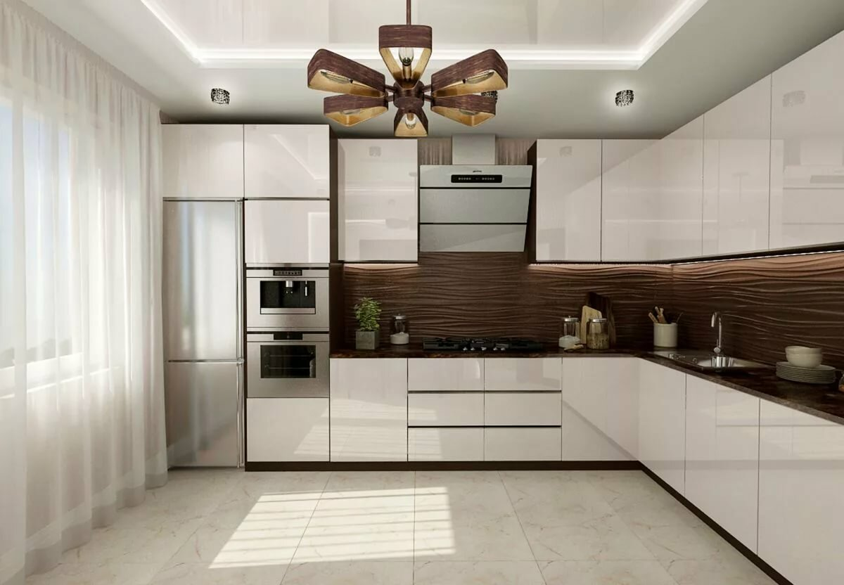 дизайн бело коричневой кухни фото яркий необычный