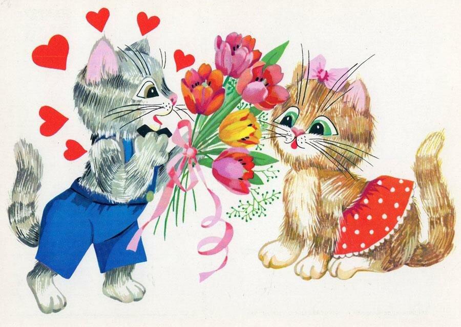 8 марта открытка котенок, картинки телефонный