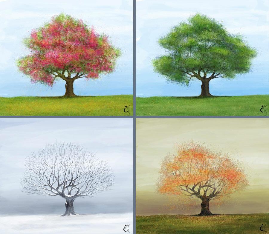 этом дерево зимой летом на одной картинке это время шлагбаум