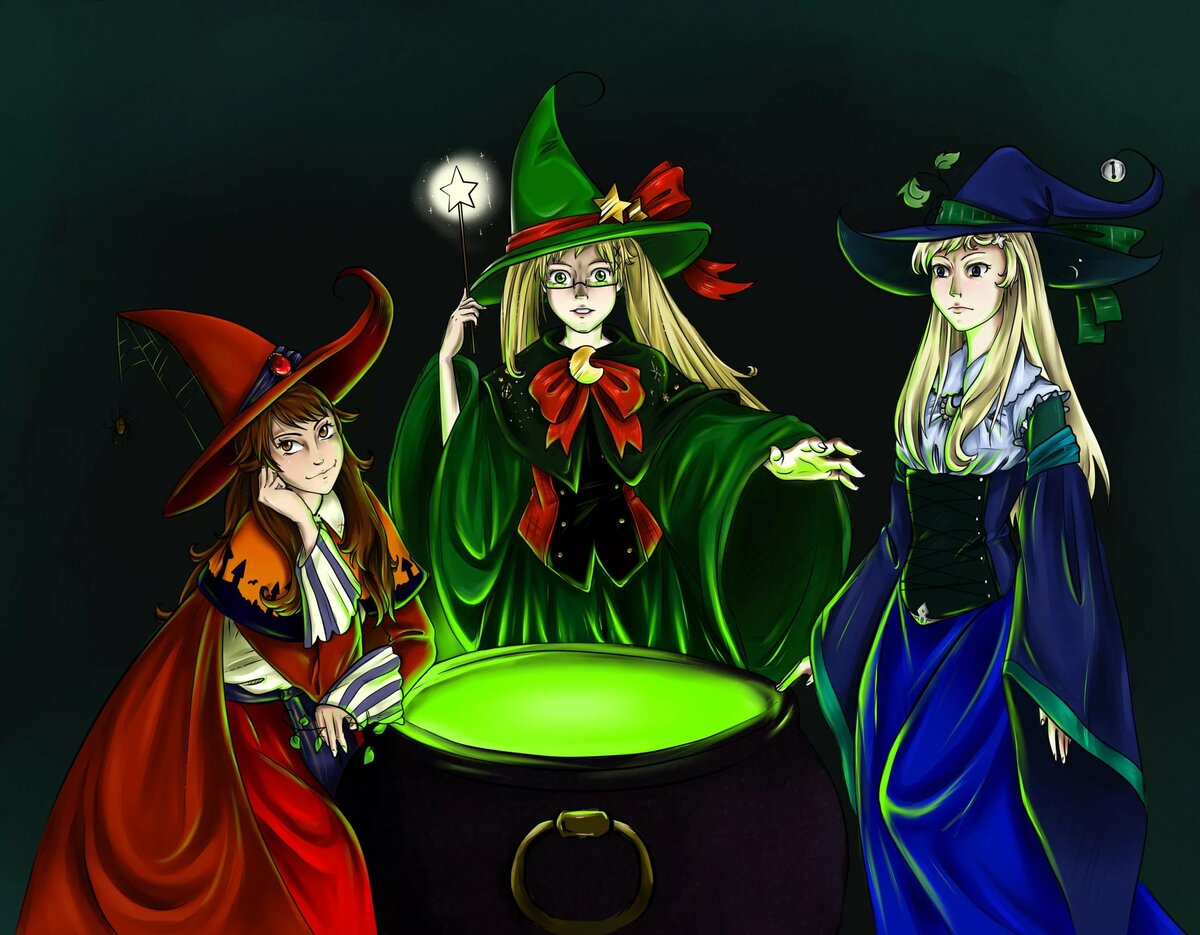 Днем рождения, прикольные картинки с тремя ведьмами