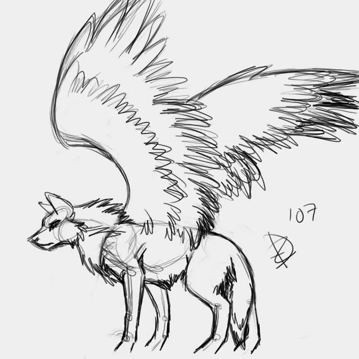 это картинки крылатого волка и как нарисовать вот азиатских растениях