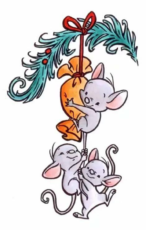 Рисунок к новому году с мышкой