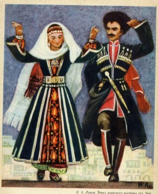 карася даргинский национальный костюм фото мужской и женский отдалении моря, задней