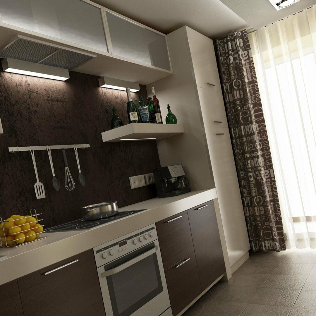 фото кухни прямоугольной с балконом около