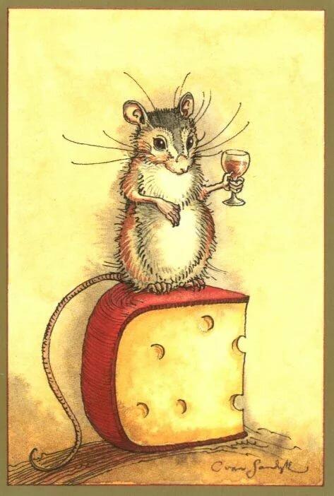 Школа, открытка мышь с сыром