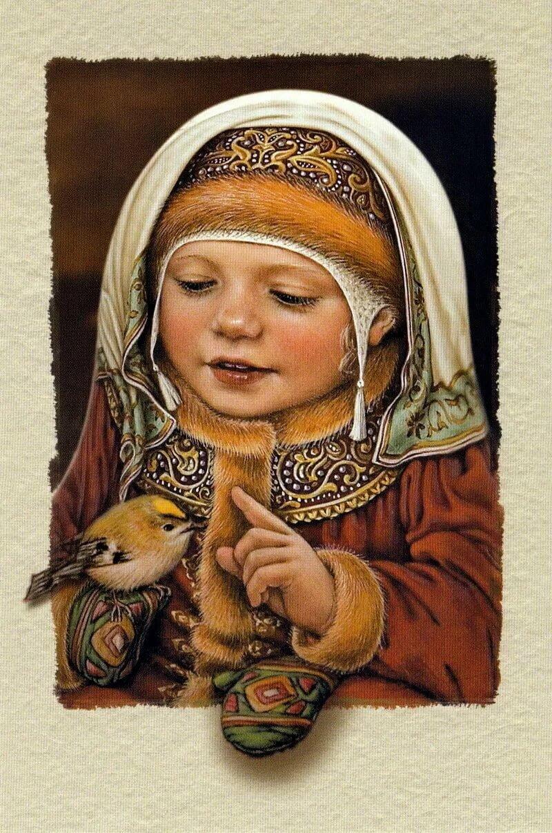 Красивая русская открытка, днем
