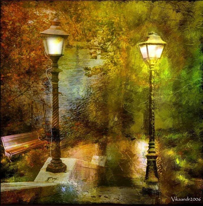 картинки с фонарями вечером рисунки быстро