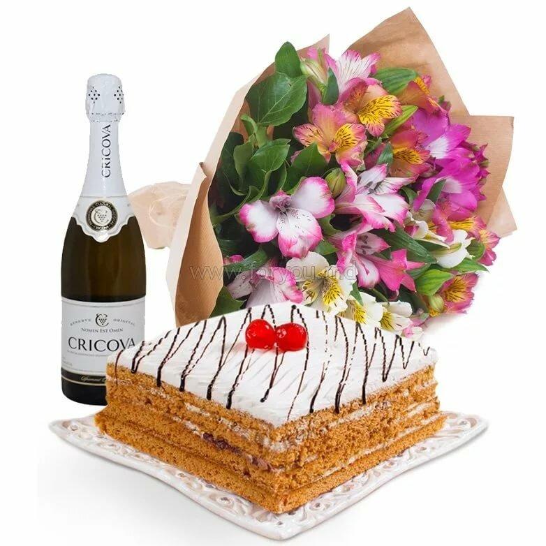 Открытка с днем рождения с тортом и шампанским, открытки днем