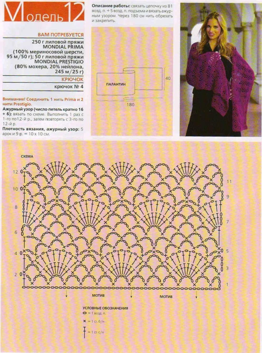Схема вязания шарфа крючком с фото лето