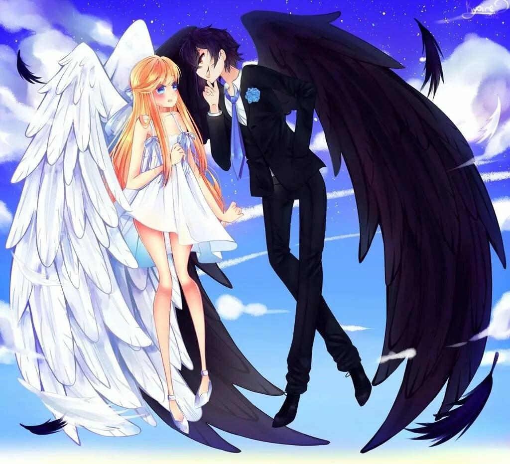Картинки аниме дьявола и ангела