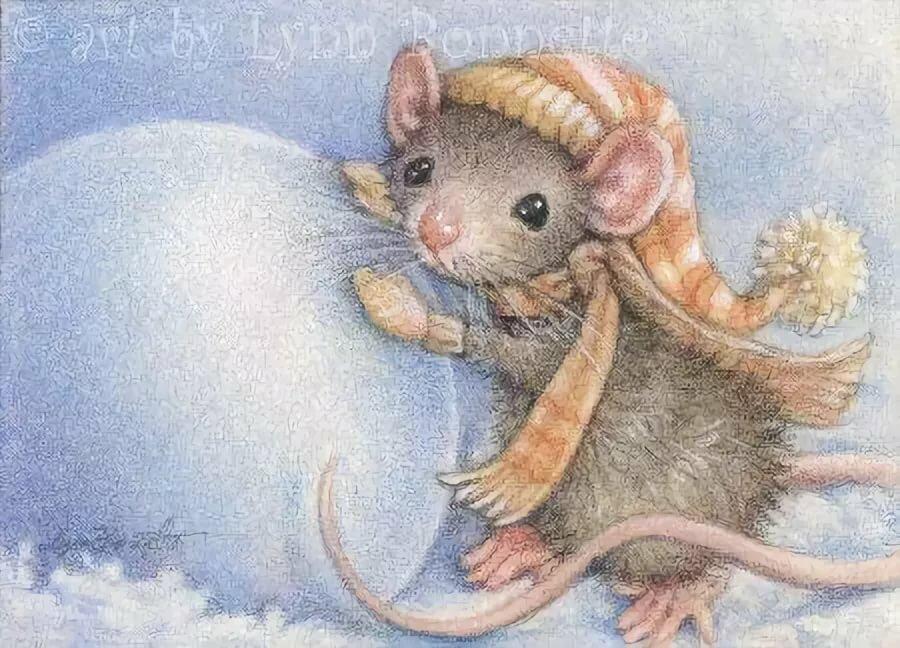 Милые открытки к новому году мышки