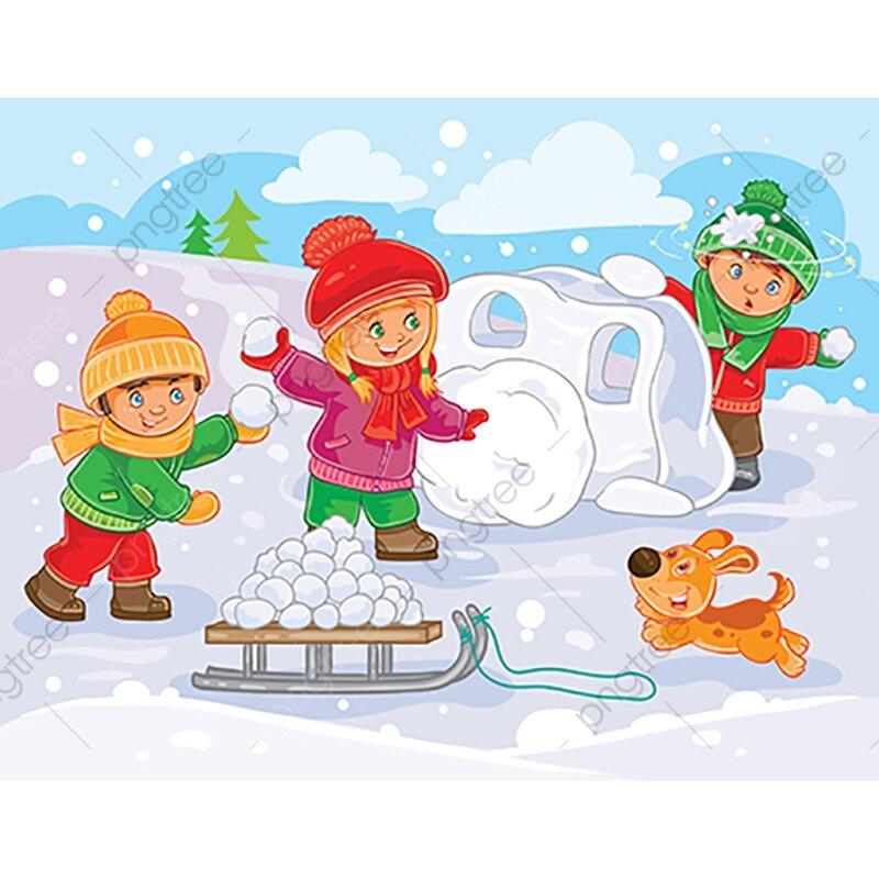 снежная крепость картинки рисунок много