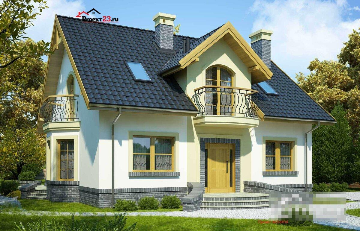 красивый фасад дома с мансардой фото