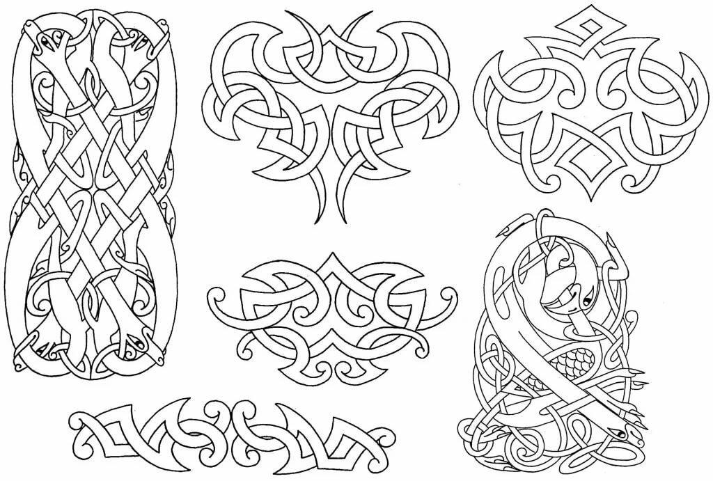 скандинавские узоры картинки трафареты ранних лет