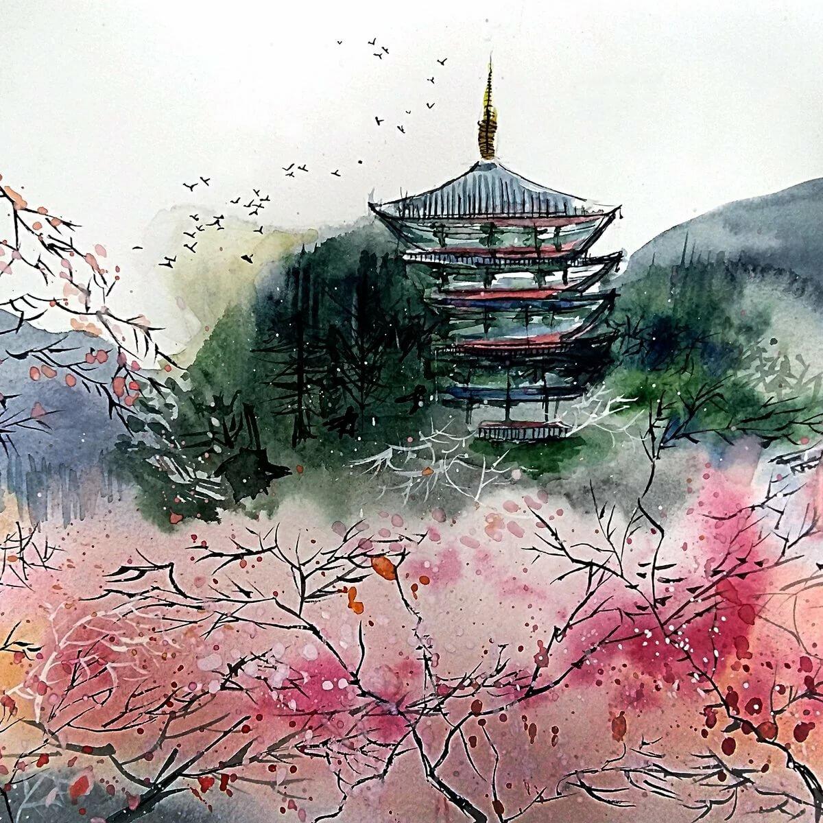 Китай картинки нарисованные