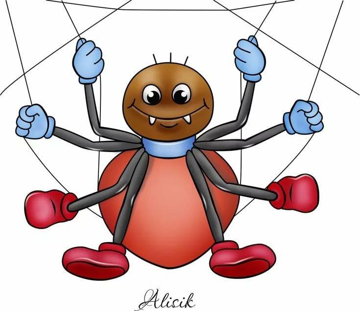 Рисунок смешного паука, спокойной