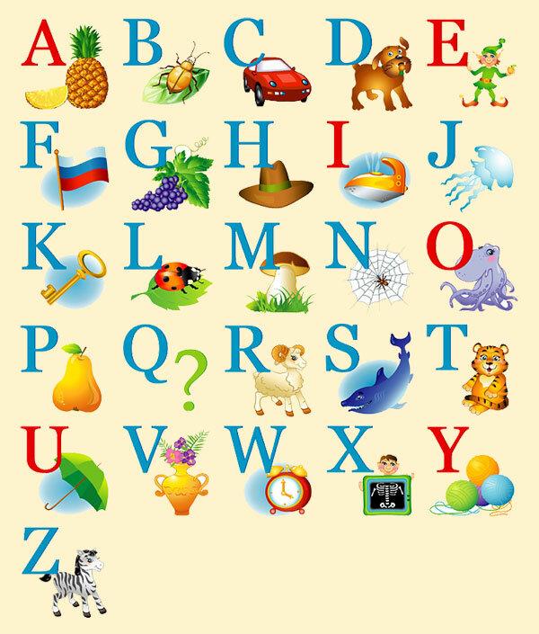 Картинки для английского алфавита