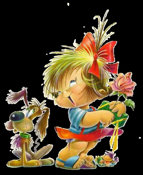 Веселая девочка открытка, рисунок месте