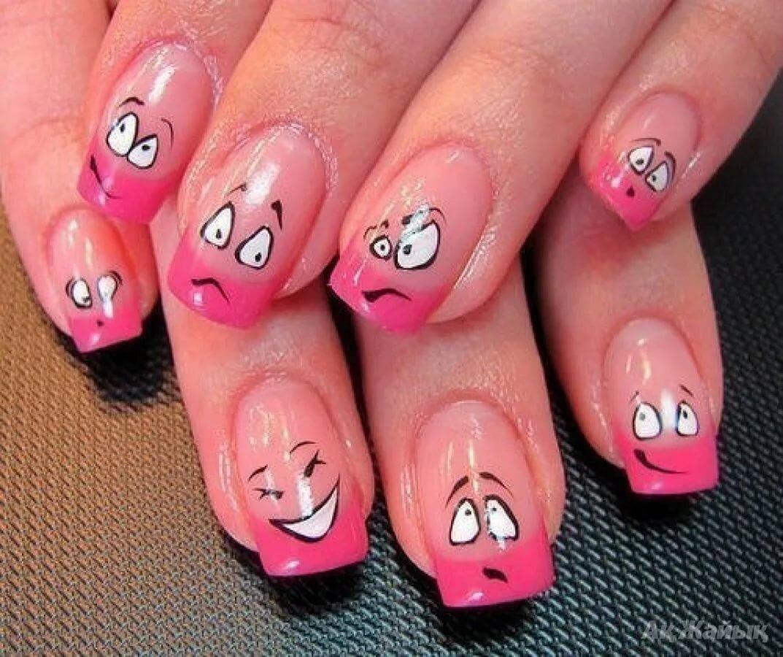 Прикольные ногти с рисунком фото гель, своего