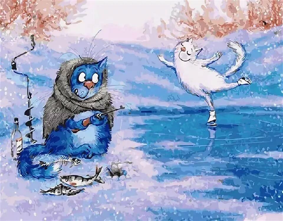 Смешные рисунки зимние, поздравление картинках открытки