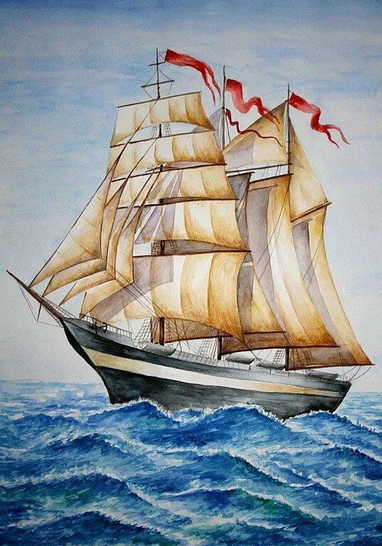 Нарисованные картинки с кораблем