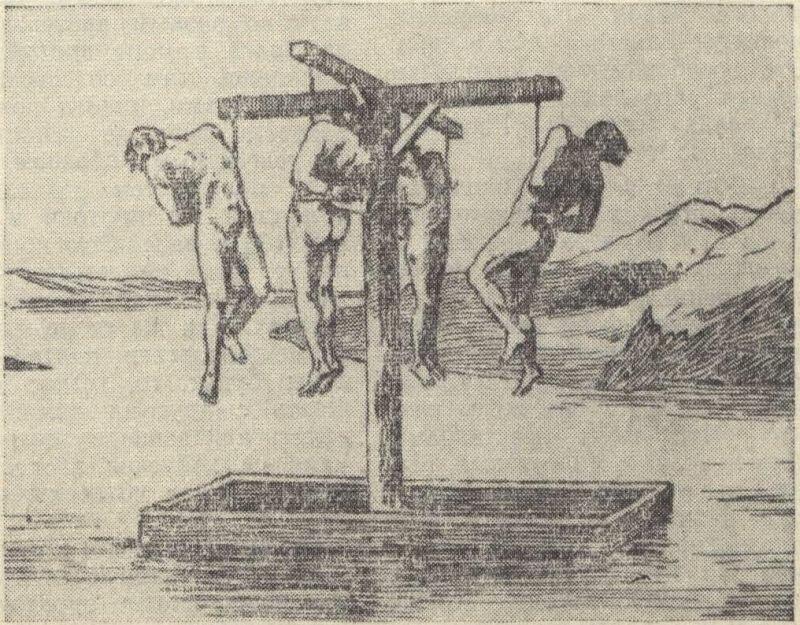 Казненные пугачевцы на Волге (со старинной гравюры)