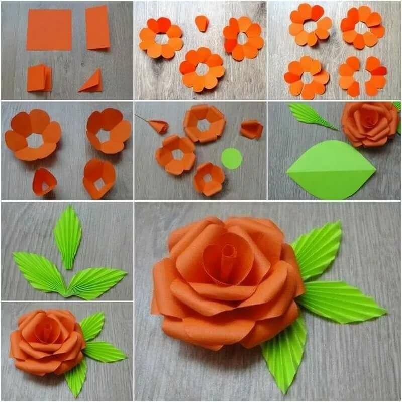 Цветы из цветной бумаги на открытку своими руками пошаговая инструкция