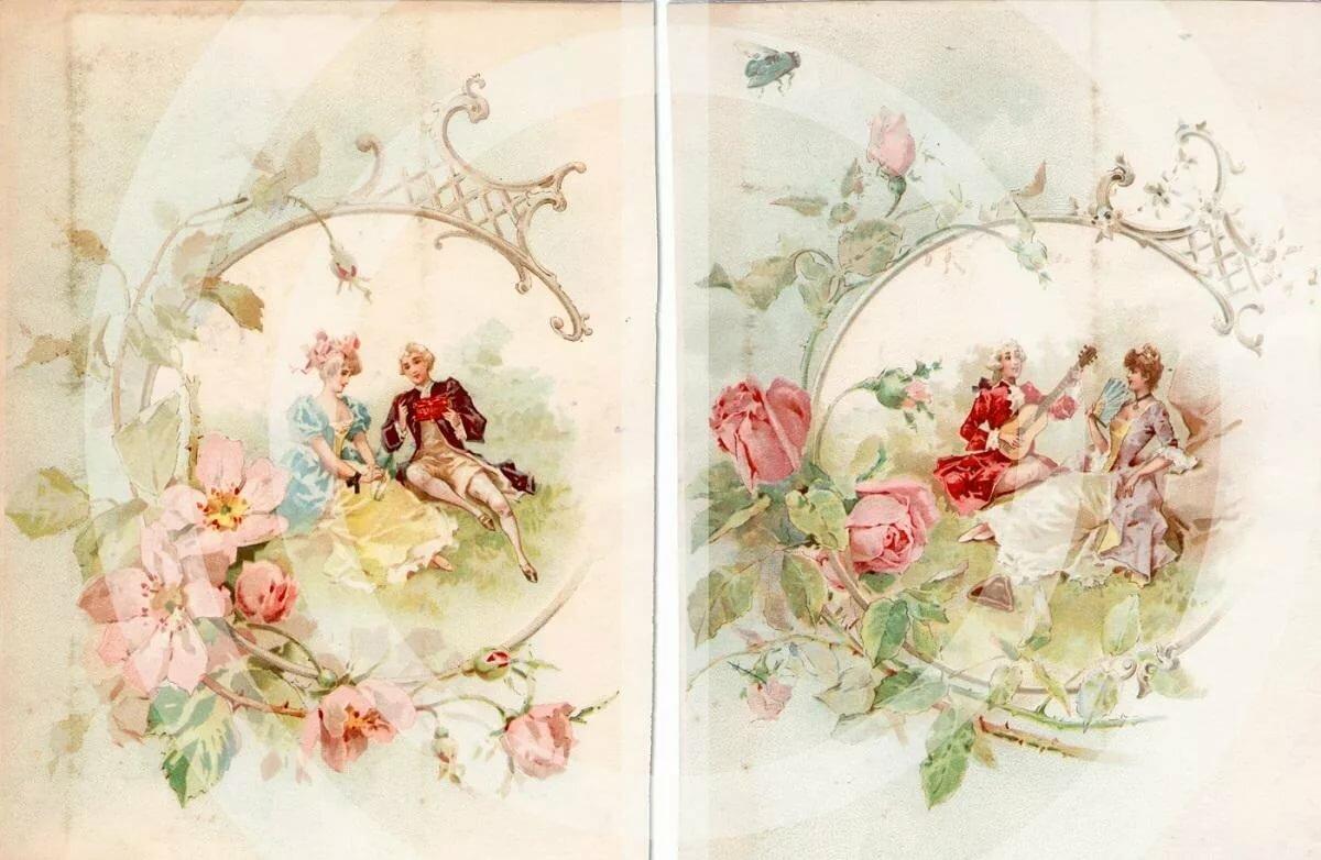 старинные открытки с интерьерами