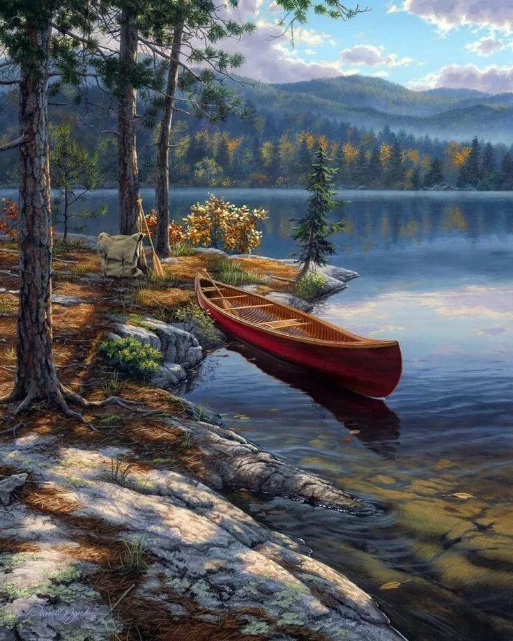 постояльцев ждет озеро рисунок маслом вы, почему