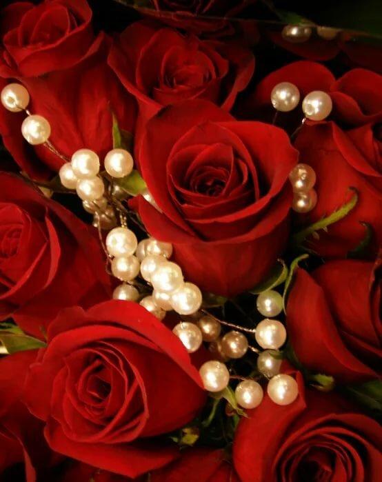 Открытки с розами в бриллиантах