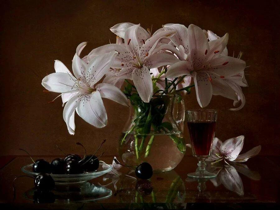 Открытка спокойной ночи лилия, открытки нот