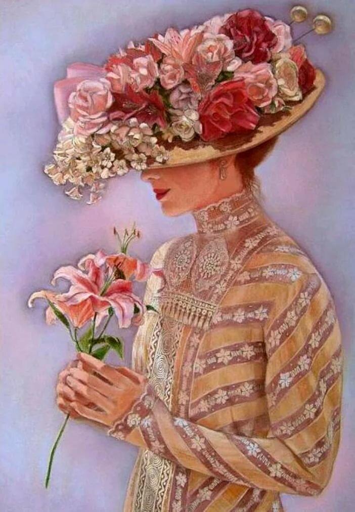 Открытки женщины с цветами, открытки новом