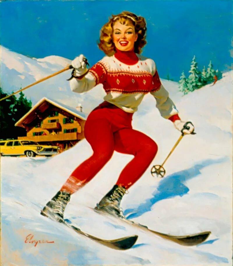 Для, открытка с днем лыжника