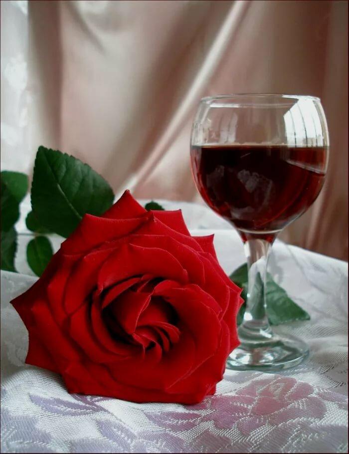 роза и бокал вина фото сыпь