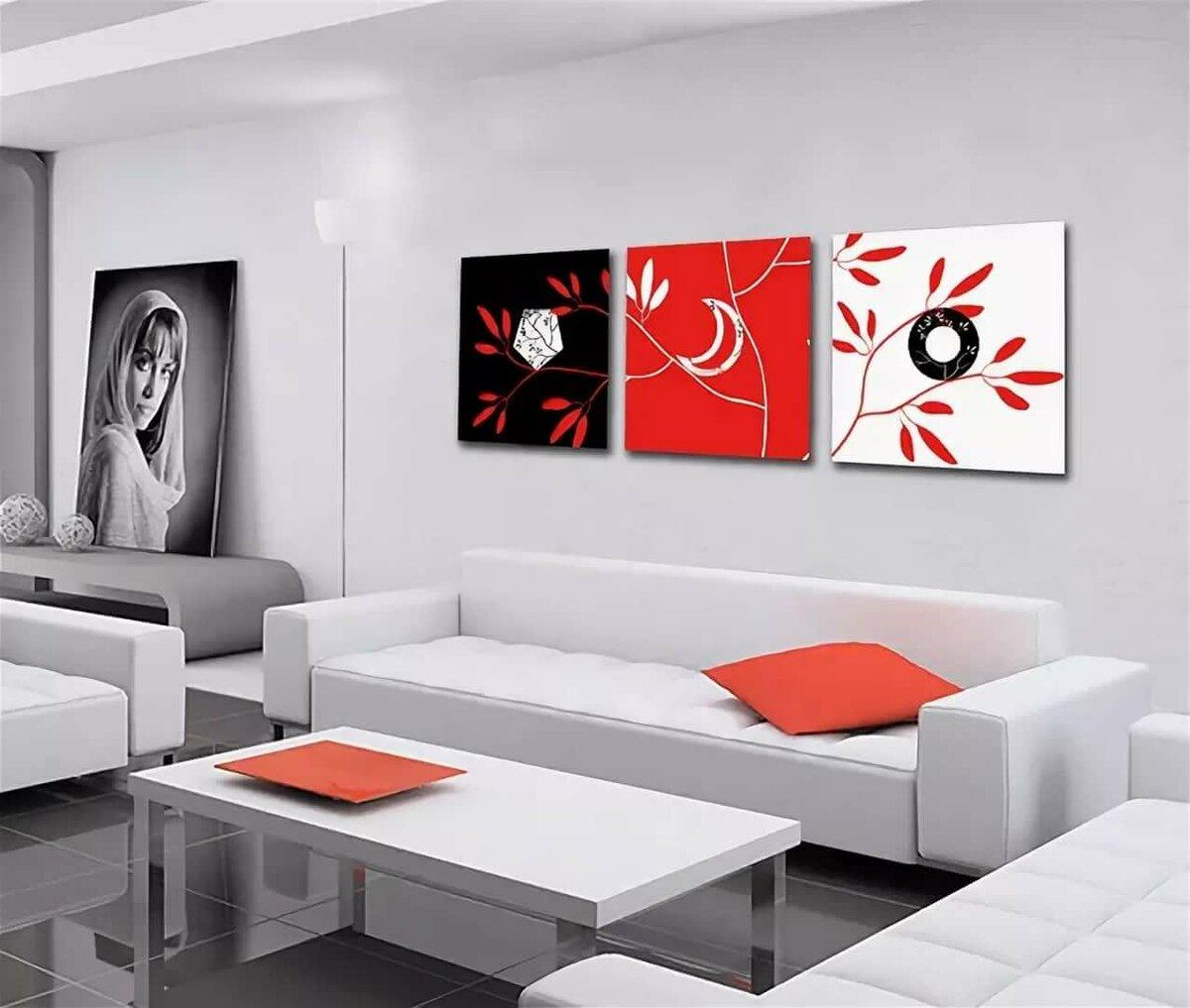 Черно-белые картинки с красным акцентом в интерьере, картинками