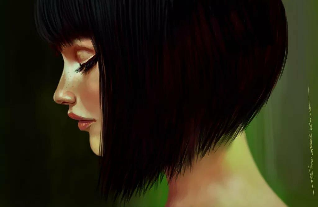 Картинки девушка брюнетка короткие волосы