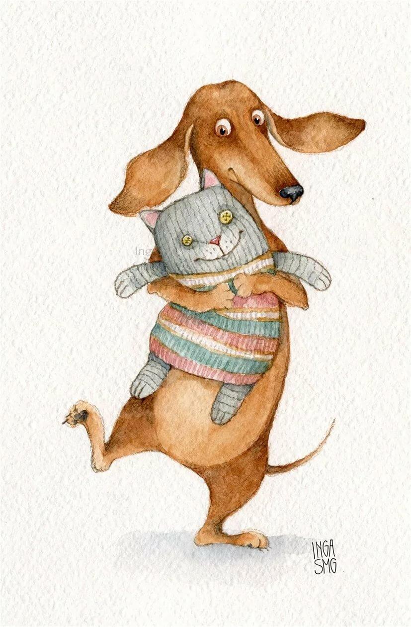 Рисунки прикольных собак