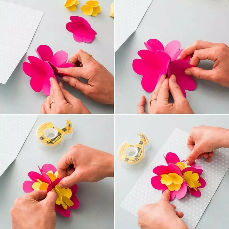 Как сделать цветочки из бумаги для открытки